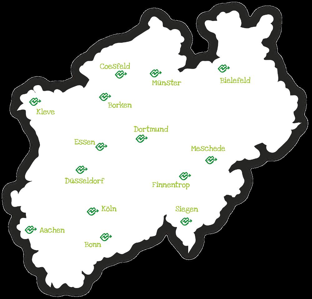 Landkarte NRW Stotterer Selbsthilfegruppen