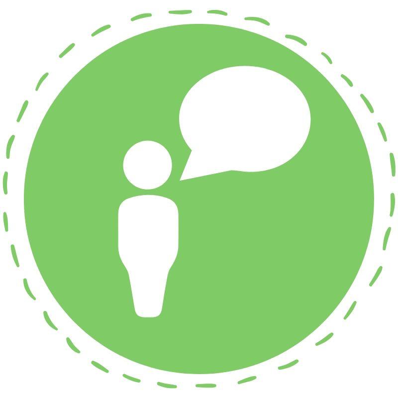 Grüner Button mit Person